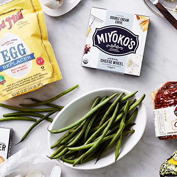Vegan products including Miyoko's butter, Field Roast, Egg Replacer and Vegetables.
