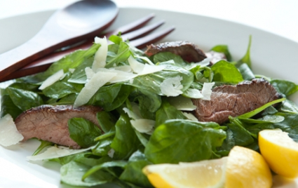 Arugula with Steak, Lemon and Parmesan