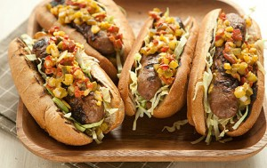 Sausage on a Bun with Pickled Pepper Relish