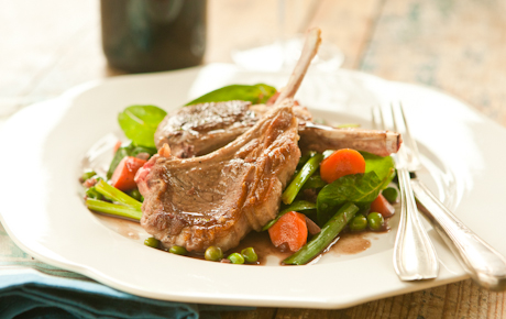 Lamb Chops with Red Wine-Glazed Spring Vegetables