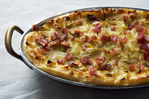 Potato Mash with Leek Confit and Bacon