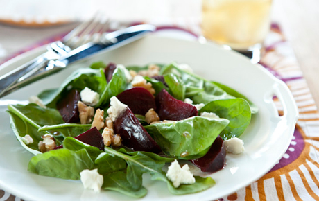 Roasted Beet and Goat Cheese Salad with Sherry Walnut Vinaigrette