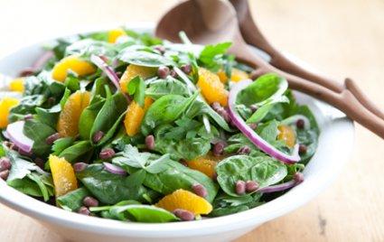 Spinach Salad with Adzuki Beans and Satsuma Vinaigrette