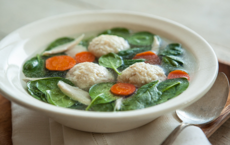 Spinach and Matzo Ball Chicken Soup