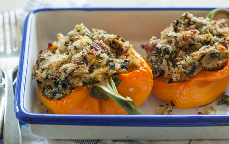 Spinach and Rice Stuffed Bell Peppers