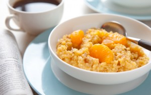 Millet Breakfast Cereal with Mandarin Oranges and Dates