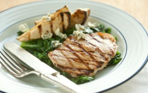 Tangy Grilled Pork Chops with Pears and Blue Cheese