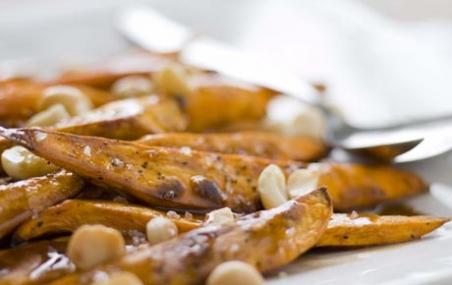 Roasted Sweet Potatoes with Macadamia Nuts