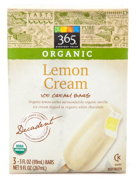 365 Everyday Value® Organic Lemon Ice Cream Bars. (3 pack.)