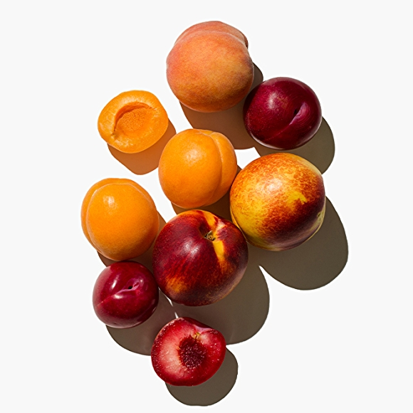 Image of stone fruit on white background