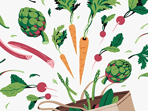 illustration of spring vegetables in bag