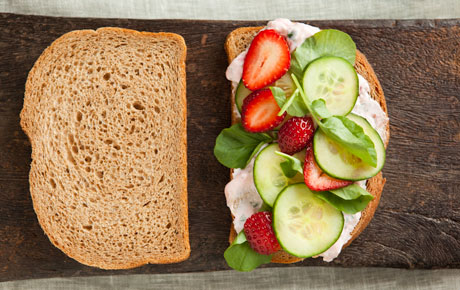 Cucumber Sandwiches with Strawberries and Watercress