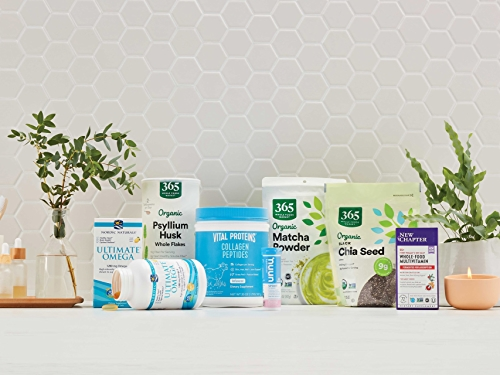 group of supplements on white surface with tile background