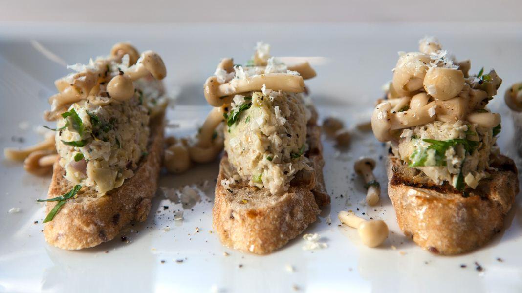 Artichoke Crostini with Wild Mushrooms