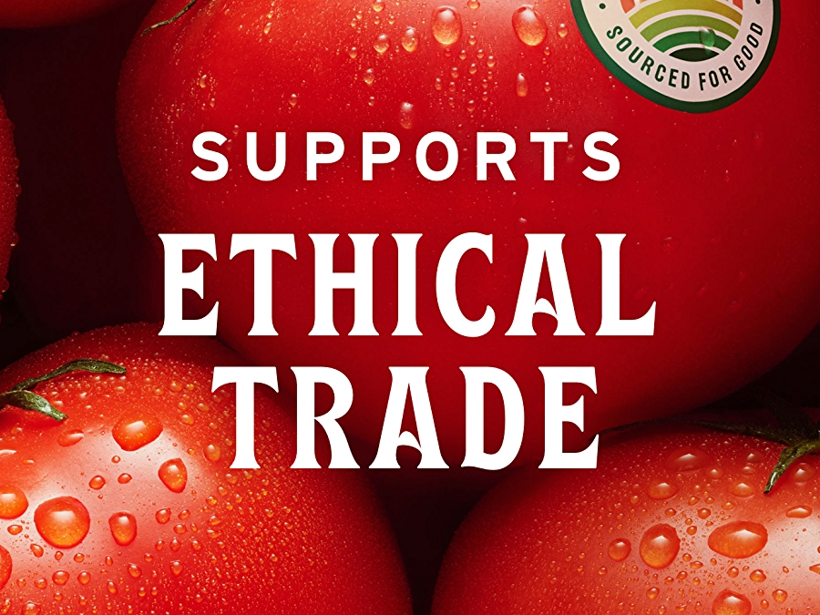 tomatoes with sourced for good seal and white text that reads improves ethical trade