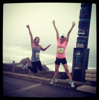 A picture of Jennifer and her friend at the 2012 Nike Women's Marathon