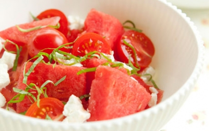 Watermelon Salad with Tomatoes, Goat Cheese and Basil