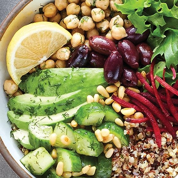 Mediterranean Grain Bowl featuring beans, grains and vegetables.