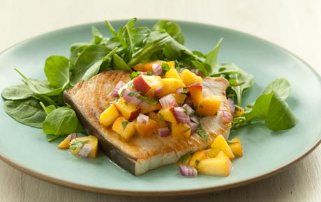 Pan-Seared Swordfish with Summer Salsa and Arugula
