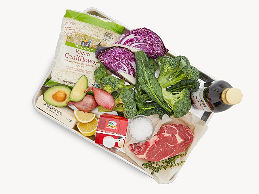 Keto-friendly products including raw vegetables and meat, riced cauliflower and avocado.