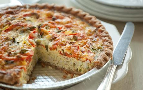 Crab and Tomato Quiche with Green Onions