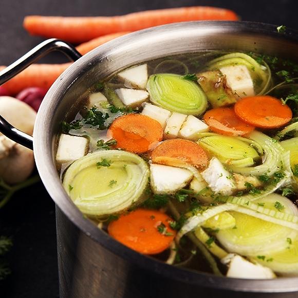 vegetables in stockpot