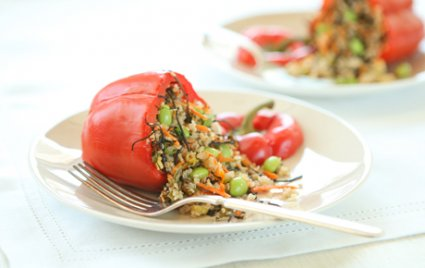Ancient Grain Stuffed Red Bell Peppers