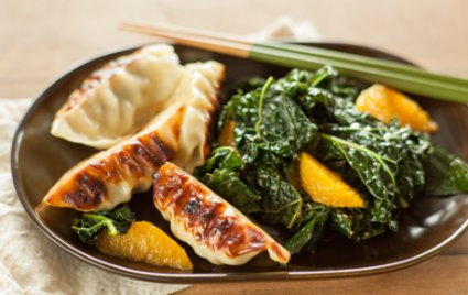Sesame Orange Greens with Potstickers