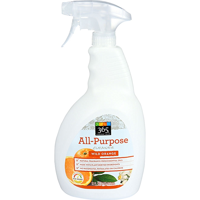365 Everyday Value All-Purpose Cleaner, Wild Orange scent, front of bottle.