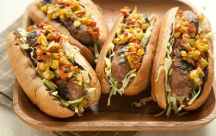 Sausage on a Bun with Pickle Pepper Relish