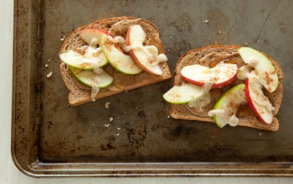 open face apple tahini sandwiches