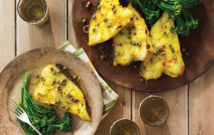 Grilled Halibut with Turmeric, Garlic and Capers
