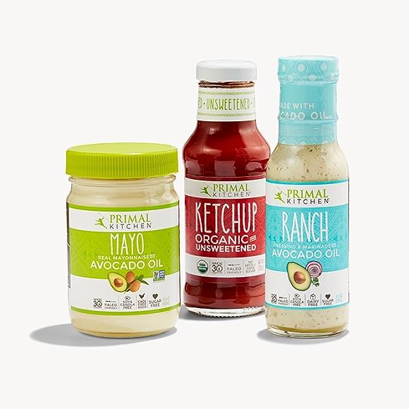 Primal Mayo, ketchup, and ranch
