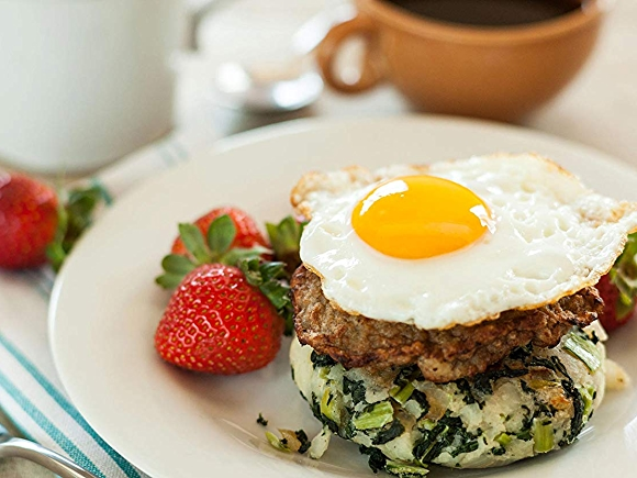 Breakfast Stacks with eggs and strawberry