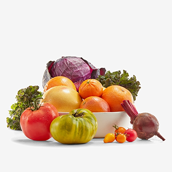 Fruits and vegetables on white background.