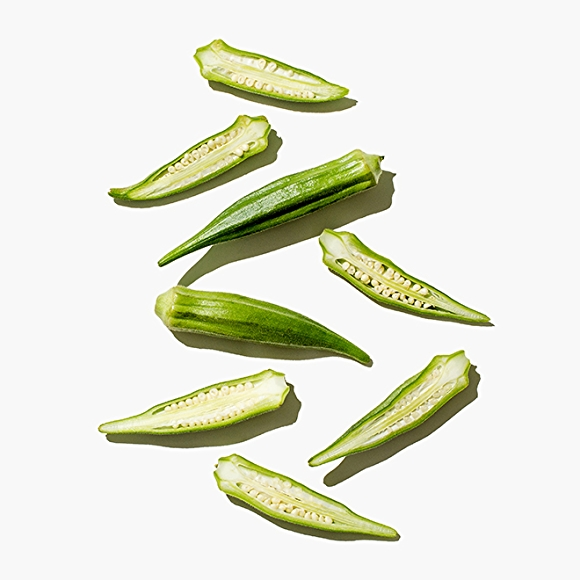 Image of okra on white background