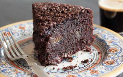 Chocolate Stout Cake with Fresh Figs