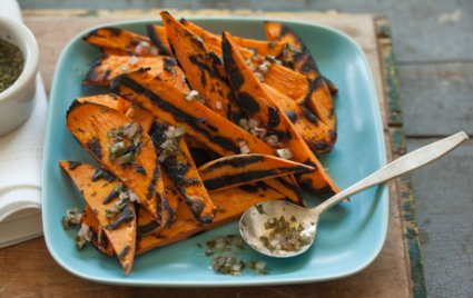 Grilled Sweet Potatoes with Cilantro-Lime Dressing