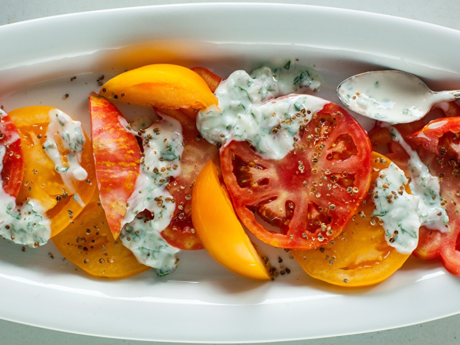 Heirloom Tomato Salad with Basil Yogurt Sauce Recipe