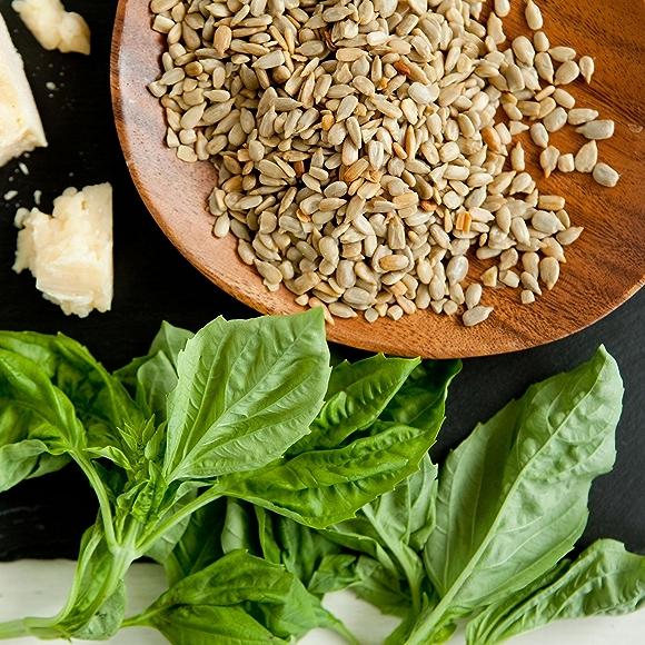 pesto ingredients: basil leaves, Parmesan cheese, pine nuts