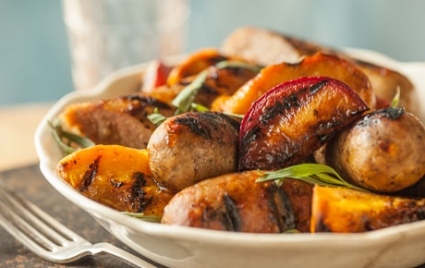 Grilled Sausages with Maple-Glazed Fruit