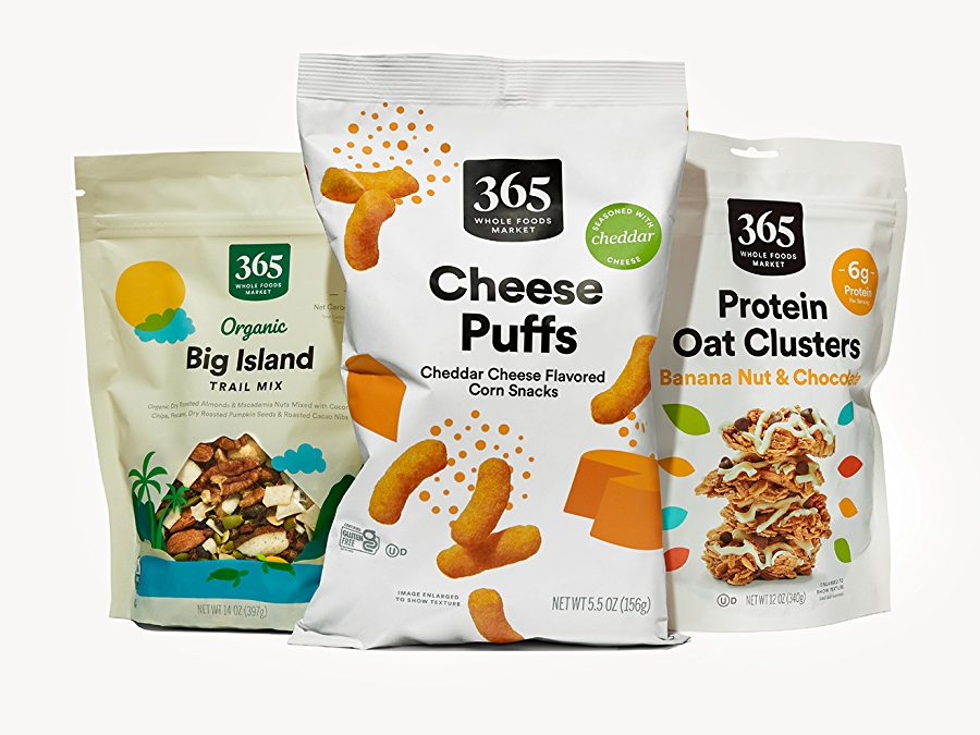 365 by whole foods market trail mix, cheese puffs, and protein oat clusters