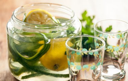 Cucumber-Lemon Water with Parsley