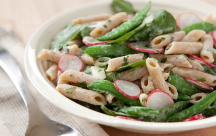 Spring Pasta Salad with Escarole, Radishes and Peas