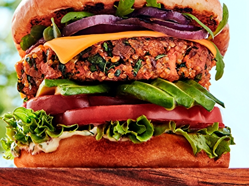 Try these innovative burger combos for summer grilling, from a Thai-inspired salmon burger to a plant-based ranch burger.