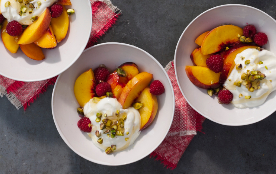 Bowls of Yogurt and Fruit