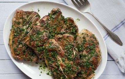 Seared Lamb Shoulder Chops with Warm Chimichurri