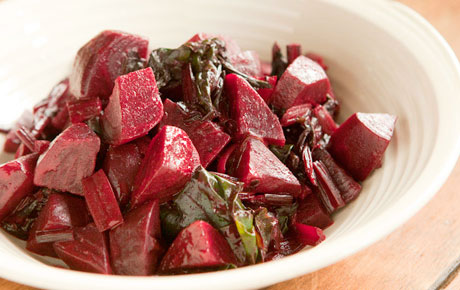Tangy Buttered Beets and Beet Greens with Dijon