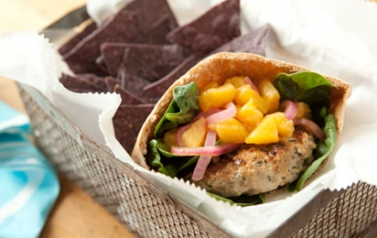 Grilled Pork Burgers with Savory Pickled Peaches