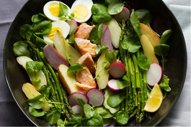 Salmon, Asparagus, and Watercress Salad with Creme Fraiche Dressing - Aida Mollenkamp